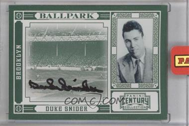 2010 Panini Century Collection - Ballpark - Signatures [Autographed] #3 - Duke Snider /10