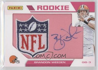 2012 Panini Black Friday - Breast Cancer Awareness NFL Shield Patch Autographs #BW - Brandon Weeden
