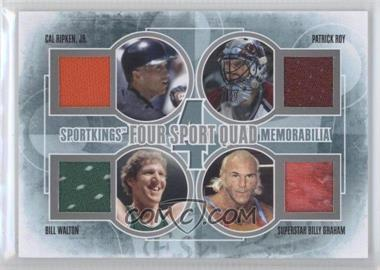 2012 Sportkings Series E - Four Sport Quad Memorabilia - Silver #FSQM-03 - Patrick Roy, Bill Walton, Superstar Billy Graham, Cal Ripken Jr. /30