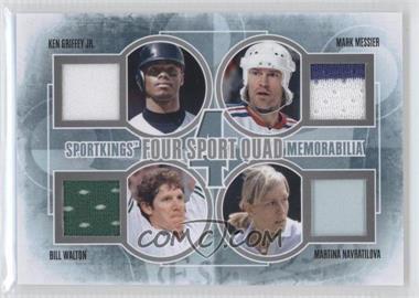 2012 Sportkings Series E - Four Sport Quad Memorabilia - Silver #FSQM-07 - Ken Griffey Jr., Mark Messier, Bill Walton, Martina Navratilova /30