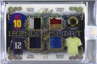 Lionel Messi, LeBron James, Tom Brady, Rafael Nadal [Uncirculated] #/1