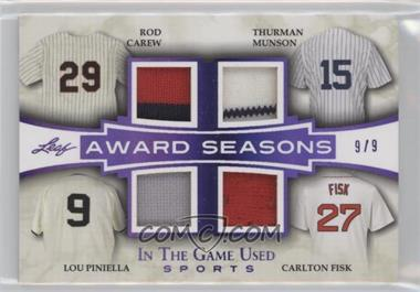 2018 Leaf In The Game Used Sports - Award Seasons - Purple #AS-01 - Rod Carew, Thurman Munson, Lou Piniella, Carlton Fisk /9