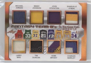 2018 Leaf In The Game Used Sports - Fantasy Team 8's #FT8-02 - Michael Jordan, Magic Johnson, John Stockton, Shaquille O'Neal, Larry Bird, Tim Duncan, Kobe Bryant, Charles Barkley /11