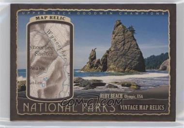 2018 Upper Deck Goodwin Champions - National Parks Vintage Map Relics #NP-57 - Olympic - Ruby Beach /38