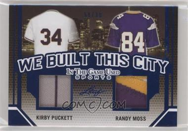 2019 Leaf In The Game Used Sports - We Built This City Relics #WBTC-09 - Kirby Puckett, Randy Moss /30
