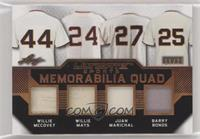 Willie McCovey, Willie Mays, Juan Marichal, Barry Bonds #/25