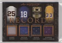 Barry Bonds, Peyton Manning, Wayne Gretzky, Kareem Abdul-Jabbar #/25