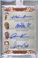Hakeem Olajuwon, Magic Johnson, Dennis Rodman, Jerry West [Uncirculated] #/9