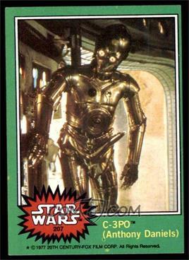 """1977 Topps Star Wars - [Base] #207.2 - C-3PO (Anthony Daniels) (""""Goldenrod"""" Variation) [VG]"""