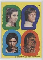 Princess Leia, Luke Skywalker, Han Solo, Chewbacca
