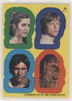 Princess Leia, Luke Skywalker, Han Solo, Chewbacca