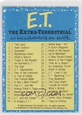 1982 Topps E.T. The Extra Terrestrial in His Adventure on Earth - [Base] #87 - Checklist