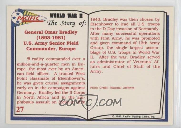 1992 Pacific World War II - [Base] #27 - General Omar Bradley