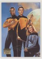 Lt. Commander Data, Lt. Commander Geordi La Forge, Dr. Beverly Crusher