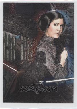 2009 Topps Star Wars Galaxy Series 4 - Etched Foil #6 - Princess Leia, Darth Vader, Obi-Wan Kenobi