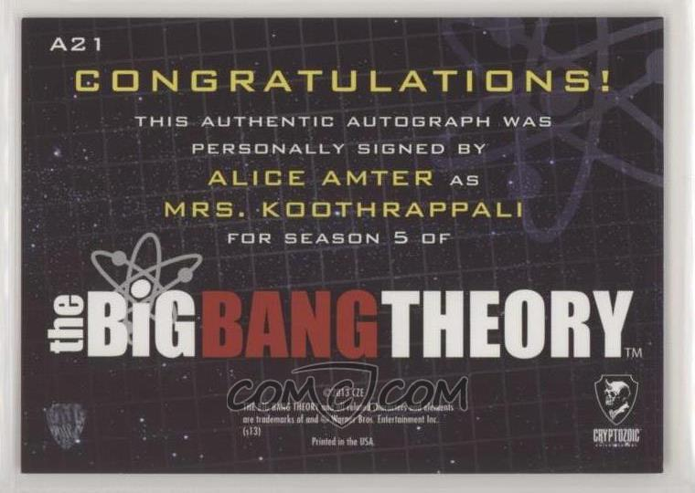 2013 Cryptozoic The Big Bang Theory Seasons 5 Autographs A21 Alice Amter As Mrs Koothrappali Alice amter podał/a dalej quadman. big bang theory seasons