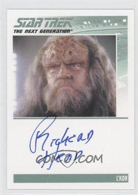 2013 Rittenhouse Star Trek The Next Generation: Heroes & Villains - Autographs #RIHE - Richard Herd, L'Kor