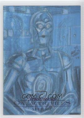 2013 Topps Star Wars Galactic Files Series 2 - Sketch Cards #UAC3 - Unknown Artist (C-3PO) /1