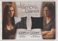 Elena Gilbert played by Nina Dobrev, Damon Salvatore played by Ian Somerhalder