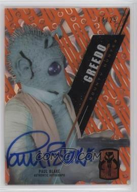 2016 Topps Star Wars High Tek - Autographs - Orange Magma Diffractor #SW-46 - Classic Saga - Paul Blake, Greedo /25