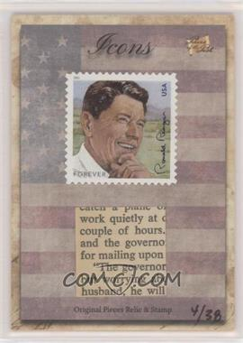 2018 The Bar Pieces of the Past Hybrid Edition - Icons Stamp/Relic #RORE.2 - Ronald Reagan (USA Forever Stamp) /38