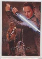 Rey, Chewbacca, R2-D2