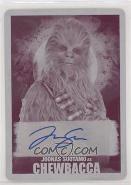 2018 Topps Star Wars: Solo - Autographs - Printing Plate Magenta #A-JS - Joonas Suotamo, Chewbacca /1