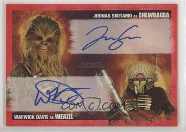 2018 Topps Star Wars: Solo - Dual Autographs - Imperial Red #DA-SD - Joonas Suotamo, Warwick Davis /1