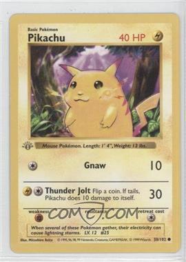 1999 Pokemon Base Set - [Base] - 1st Edition #58 - Pikachu (Yellow Cheeks)