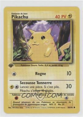 1999 Pokemon Base Set - [Base] - French 1st Edition #58 - Pikachu (Yellow Cheeks)