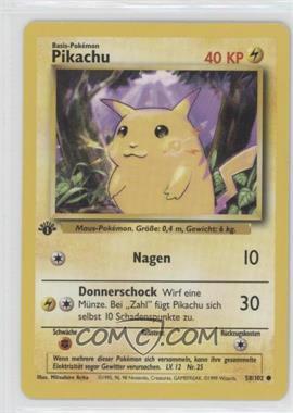 1999 Pokemon Base Set - [Base] - German 1st Edition #58 - Pikachu (Yellow Cheeks)