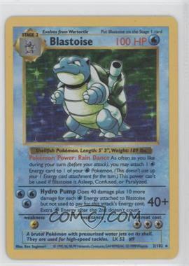 1999 Pokemon Base Set - [Base] - Shadowless Unlimited #2 - Blastoise