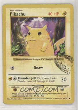 1999 Pokemon Base Set - [Base] - Shadowless #58.1 - Pikachu (Yellow Cheeks) [Noted]