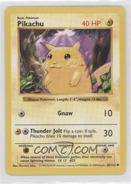 1999 Pokemon Base Set - [Base] - Shadowless #58.1 - Pikachu (Yellow Cheeks)