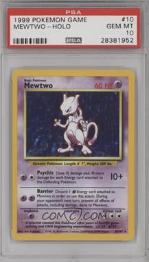 1999 Pokemon Base Set - [Base] - Unlimited #10 - Mewtwo [PSA10GEMMT]