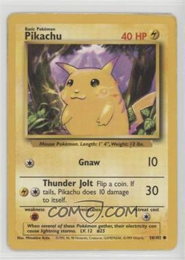 1999 Pokemon Base Set - [Base] - Unlimited #58.1 - Pikachu (Yellow Cheeks)