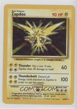 1999 Pokemon Base Set - Booster [Base] - Unlimited #16 - Zapdos