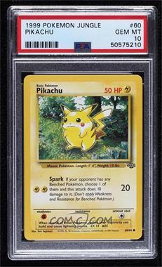 1999 Pokemon Jungle - [Base] - Unlimited #60 - Pikachu [PSA10GEMMT]