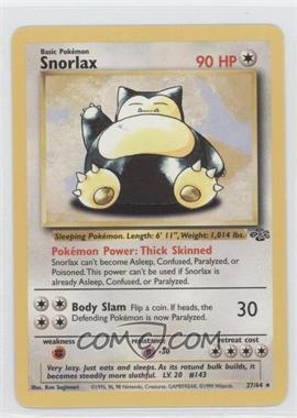 1999 Pokemon Jungle - Booster Pack [Base] - Unlimited #27 - Snorlax
