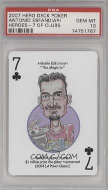 2007 Hero Decks Poker Heroes Playing Cards - [Base] #7C - Antonio Esfandiari [PSA10GEMMT]