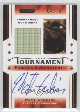 2010 Razor Poker - Tournament Fabrics & Signatures - Gold [Autographed] #TFS-3 - Hoyt Corkins /10