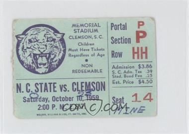 1959 Clemson Tigers Football Ticket Stubs 10 10 Vs