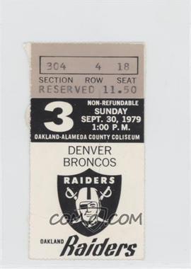 1979 Oakland Raiders - Ticket Stubs #3 - September 30 vs. Denver Broncos [GoodtoVG‑EX]