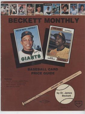 1984-Now Beckett Baseball - [Base] #3 - January 1985 (Willie Mays, Dave Winfield) [Good to VG‑EX]