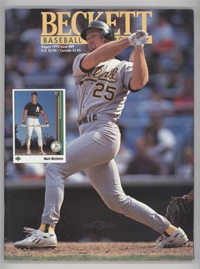 1984-Now Beckett Baseball - [Base] #89 - August 1992 (Mark McGwire)