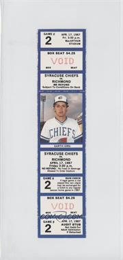 1987 Syracuse Chiefs - Ticket Stubs #2 - April 17 vs. Richmond Braves (Garth Iorg)