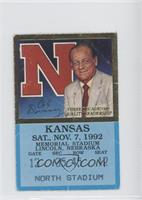 vs. Kansas Jayhawks (Bob Devaney) [Good to VG‑EX]