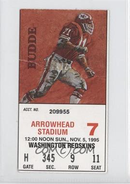 1995 Kansas City Chiefs - Ticket Stubs #7 - November 5 vs. Washington Redskins (Brad Budde) [GoodtoVG‑EX]
