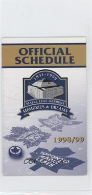1998-99 Toronto Maple Leafs - Team Schedules #TOML - Toronto Maple Leafs