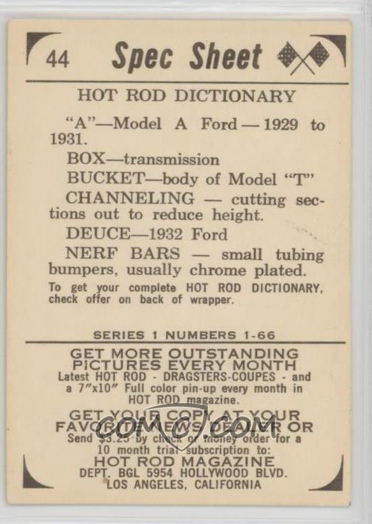 1965 Donruss Spec Sheet Hot Rods - R818-5 #44 - Hot Rod Dictionary